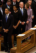 United States President Barack Obama, First Lady Michelle Obama, Vice President Joseph Biden, U.S. House Speaker Nancy Pelosi (Democrat of California), and U.S. Senate Majority Leader Harry Reid (Democrat of Nevada), attend the funeral service for civil rights activist Dorothy Height held at the National Cathedral in Washington, D.C. on Thursday, April 29, 2010. Height passed away on April 20 at the age of 98. .Credit: Kristoffer Tripplaar / Pool via CNP