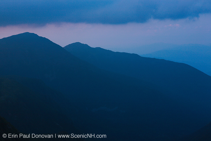 Northern Presidential Range at dusk from Mount Washington. Located in the White Mountains, New Hampshire USA.