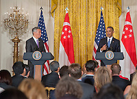 Washington DC, August 2, 2016, USA:President Barack Obama and  Prime Minister Lee Hsien Loong of Singapore, hold a joint press conference at the  White House. Patsy Lynch/MediaPunch