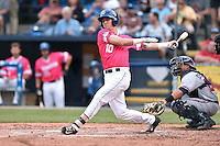 Asheville Tourists designated hitter Drew Weeks (10) swings at a pitch during a game against the Rome Braves on May 15, 2015 in Asheville, North Carolina. The Braves defeated the Tourists 6-0. (Tony Farlow/Four Seam Images)