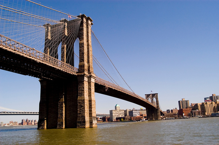 New York City, New York: Brooklyn Bridge  .Photo #: ny252-14857  .Photo copyright Lee Foster, www.fostertravel.com, lee@fostertravel.com, 510-549-2202.