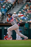 Pawtucket Red Sox Deiner Lopez (18) at bat during an International League game against the Buffalo Bisons on August 25, 2019 at Sahlen Field in Buffalo, New York.  Buffalo defeated Pawtucket 5-4 in 11 innings.  (Mike Janes/Four Seam Images)