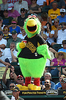 Pittsburgh Pirates mascot, The Pirate Parrot, during a Spring Training game against the Minnesota Twins on March 13, 2015 at McKechnie Field in Bradenton, Florida.  Minnesota defeated Pittsburgh 8-3.  (Mike Janes/Four Seam Images)