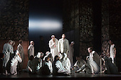 """Dress rehearsal of Thebans. English National Opera gives world premiere of British composer Julian Anderson's first opera """"Thebans"""" at the London Coliseum. Thebans is based on the three Theban plays by Sophocles that chronicle the cursed life of Oedipus and his daughter Antigone. Thebans opens at the London Coliseum on 3 May 2014 for 7 performances. The new production is supported by The Boltini Trust, PRS for Music Foundation and ENO's Contemporary Opera Group, a co-production with Theater Bonn in Germany. With Roland Wood as Oedipus, Peter Hoare as Creon (Jocasta's brother), Matthew Best as Tiresias (blind prophet), Susan Bickley as Jocasta (Oedipus' mother/wife) and Julia Sporsen as Antigone (Oedipus' daugher). Score by Julian Anderson, libretto by Frank McGuinness, directed by Pierre Audi and conducted by Edward Gardner."""