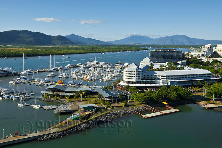 Aerial view of Marlin Marina and Shangri La Hotel at The Pier.  Cairns, Queensland, Australia