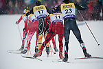 HOLMENKOLLEN, OSLO, NORWAY - March 16: (R-L) Taylor Fletcher of USA, Marjan Jelenko of Slovenia (SLO) and Tino Edelmann of Germany (GER) during the cross country 15 km (2 x 7.5 km) competition at the FIS Nordic Combined World Cup on March 16, 2013 in Oslo, Norway. (Photo by Dirk Markgraf)