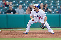 Oklahoma City Dodgers third baseman Rob Segedin (26) relies himself for a play during a game against the Omaha Storm Chasers at Chickasaw Bricktown Ballpark on June 16, 2016 in Oklahoma City, Oklahoma. Oklahoma City defeated Omaha 5-4  (William Purnell/Four Seam Images)