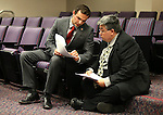 Nevada Assemblyman Derek Armstrong, R-Las Vegas, talks with Deputy Fiscal Analyst Michael Nakamoto following the Economic Forum meeting at the Legislative Building in Carson City, Nev., on Friday, May 1, 2015.<br /> Photo by Cathleen Allison