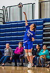 27 October 2013: Yeshiva University Maccabee Middle Hitter Kerrin Ast, a Senior from St. Louis, MO, in action against the College of Mount Saint Vincent Dolphins at the College of Mount Saint Vincent in Riverdale, NY. The Dolphins defeated the Maccabees 3-0 in NCAA women's volleyball play. Mandatory Credit: Ed Wolfstein Photo *** RAW (NEF) Image File Available ***