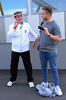 Umpire Billy Bowden poses for a selfie with a fan during day two of the Plunket Shield cricket match between the Wellington Firebirds and Otago Volts at the Basin Reserve in Wellington, New Zealand on Tuesday, 22 October 2019. Photo: Dave Lintott / lintottphoto.co.nz