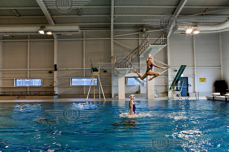 Members of Team GB's synchronised swimming squad in training at the High Performance Centre in Aldershot, Surrey..