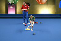 Carol Ashby in her match with Paul Foster at the Bupa Care Homes Open Bowls competition at Ponds Forge Centre, Sheffield