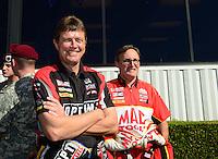 Nov. 11, 2012; Pomona, CA, USA: NHRA top fuel dragster driver David Grubnic (left) and teammate Doug Kalitta during the Auto Club Finals at at Auto Club Raceway at Pomona. Mandatory Credit: Mark J. Rebilas-