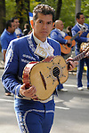 The Hispanic Parade in New York City. A man representing El Salvador in the Hispanic Parade in New York City.