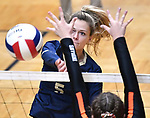 Althof player Grace Strieker slams the ball over. Althoff lost to Minooka in the championship game of the O'Fallon Class 4A volleyball sectional at O'Fallon HS in O'Fallon, IL on November 6, 2019.<br /> Tim Vizer/Special to STLhighschoolsports.com