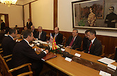 United States Secretary of Defense Donald H. Rumsfeld (3rd from right) meets with Macedonian President Branko Crevenkovski (left) in the Parliament building in Skopje, Macedonia, on October 11, 2004.  Rumsfeld is in Skopje to attend a bi-lateral meeting with Macedonia officials. <br /> Mandatory Credit: James M. Bowman / DoD via CNP