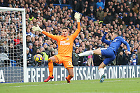 Eden Hazard of Chelsea (right) goes close to scoring his team's third goal during the Premier League match between Chelsea and Newcastle United at Stamford Bridge, London, England on 2 December 2017. Photo by David Horn.
