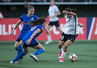 Seattle, WA - Saturday July 22, 2017: Christine Nairn, Rumi Utsugi, Samantha Kerr during a regular season National Women's Soccer League (NWSL) match between the Seattle Reign FC and Sky Blue FC at Memorial Stadium.