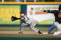 Lake Elsinore Storm shortstop Deion Tansel (10) defends second base on a stolen base attempt by Bryson Brigman (8) during a California League game against the Modesto Nuts at John Thurman Field on May 11, 2018 in Modesto, California. Modesto defeated Lake Elsinore 3-1. (Zachary Lucy/Four Seam Images)