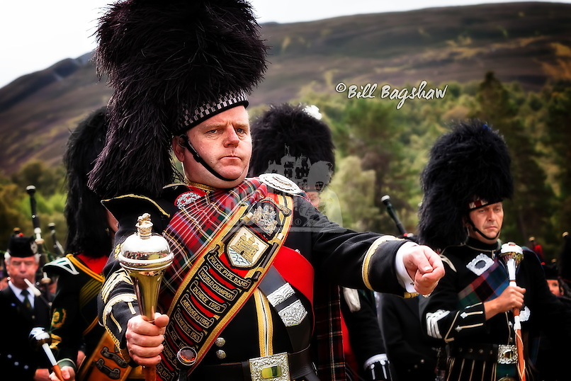 Braemar. Police Pipe Band Drum Major, Braemar Gathering
