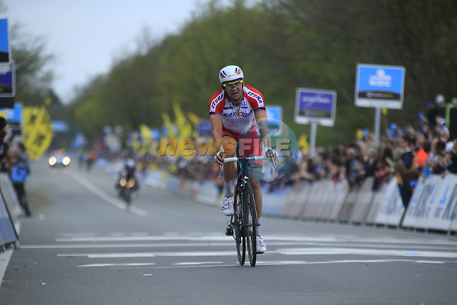 Alexander Kristoff (NOR) Team Katusha crosses the finish line of the 2014 Tour of Flanders, Oudenaarde, Belgium.<br /> Picture: Eoin Clarke www.newsfile.ie