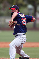 Minnesota Twins pitcher Madison Boer #26 delivers a pitch during a minor league spring training intrasquad game at the Lee County Sports Complex on March 25, 2012 in Fort Myers, Florida.  (Mike Janes/Four Seam Images)