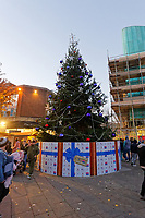 "Pictured: The Christmas Tree in Swansea, Wales, UK. Sunday 19 November 2018<br /> Re: Swansea Christmas parade attended by thousands has been branded a ""shambles"" for having just three floats.<br /> The annual festive event in south Wales, which took place on Sunday, promised ""dynamic dance-troupes"" as well as ""spectacular shows and stages"".<br /> But the parade was scaled down, leading to a barrage of criticism on social media because of roadworks in the city centre. <br /> The leader of Swansea Council, Rob Stewart apologised on Facebook and said the parade was not ""good enough"".<br /> Parents took on social media to voice their anger, calling the event ""a load of rubbish"" and claiming there was nothing for young children apart from ""a loud music float with Santa on""."