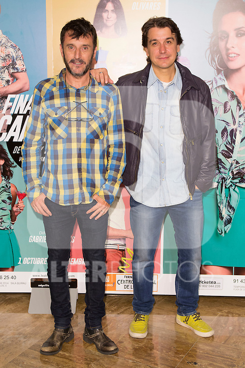"Carlos Chaparro and Javier Veiga attends the Premiere of the Theater Play ""Al Final de la carretera"" at Fenan Gomez Theatre in Madrid, Spain. October 7, 2014. (ALTERPHOTOS/Carlos Dafonte)"