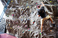 Dawg Days URec - students climb on Sanderson climbing wall.<br />  (photo by Megan Bean / &copy; Mississippi State University)