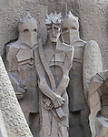 Statue on the Gaudi designed cathedral La Sagrada Familia in Barcelona, Spain. <br />