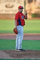 Jorge Gonzalez (8) of the Orem Owlz during the game against the Ogden Raptors at Lindquist Field on September 2, 2017 in Ogden, Utah. Ogden defeated Orem 16-4. (Stephen Smith/Four Seam Images)