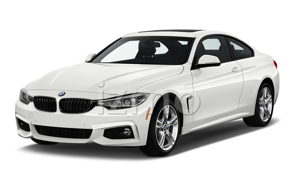 2019 BMW 4-Series 440i-M-Sport Door Coupe Angular Front stock photos of front three quarter view