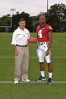 7 August 2006: Stanford Cardinal head coach Walt Harris and Mark Bradford during Stanford Football's Team Photo Day at Stanford Football's Practice Field in Stanford, CA.