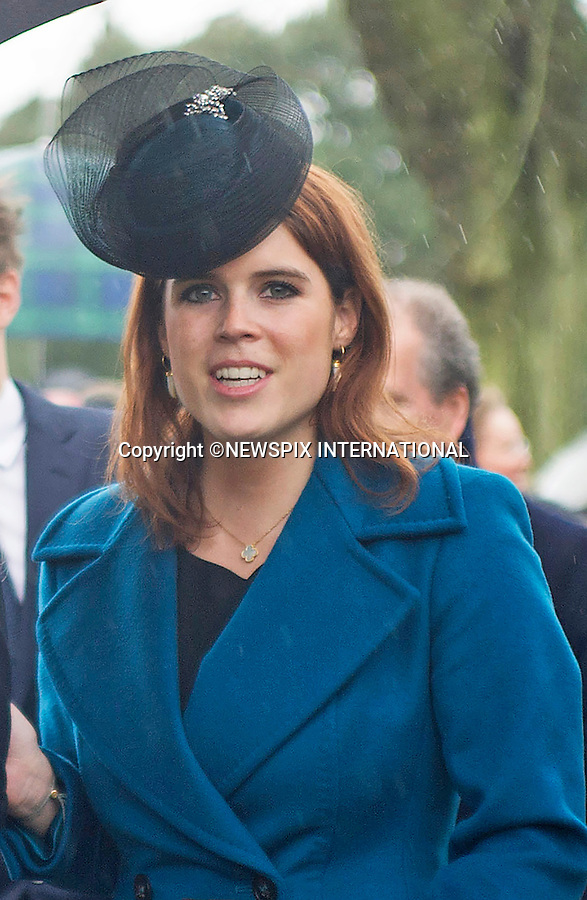 25.12.2015, Sandringham; UK: PRINCESSES BEATRICE AND EUGENIE<br /> joined other members of the Royal Family at the Christmas Day Church Service at St. Mary Magdalene's on the Sandringham Estate.<br /> Royals in attendance included the Queen, Prince Philip, Prince Charles, Camilla, Prince Andrew, Duchess of Cambridge, Princes William and Harry, Princess Anne, Tim Laurence, Prince Edward, Sophie Wessex, The Linleys and The Chattos<br /> MANDATORY PHOTO CREDIT: &copy;Xavier Bardolph-AvantImage/NEWSPIX INTERNATIONAL<br /> <br /> (Failure to credit will incur a surcharge of 100% of reproduction fees)<br /> <br /> Different fees may be applicable to some images, please contact us.<br /> Newspix International, 31 Chinnery Hill, Bishop's Stortford, ENGLAND CM23 3PS<br /> Tel:+441279 324672<br /> Fax: +441279656877<br /> Mobile:  07775681153<br /> e-mail: info@newspixinternational.co.uk<br /> All Fees Payable To Newspix International