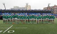 Ireland woman line for the anthems<br /> <br /> Photographer Ian Cook/CameraSport<br /> <br /> Women's Six Nations Round 4 - Wales Women v Ireland Women - Saturday 11th March 2017 - Cardiff Arms Park - Cardiff<br /> <br /> World Copyright &copy; 2017 CameraSport. All rights reserved. 43 Linden Ave. Countesthorpe. Leicester. England. LE8 5PG - Tel: +44 (0) 116 277 4147 - admin@camerasport.com - www.camerasport.com