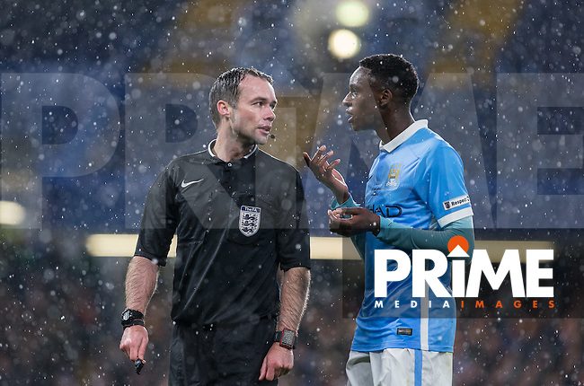 Rodney Kongolo of Manchester City U18 argues with Referee Paul Tierney during the FA Youth Cup FINAL match between Chelsea U18 and Man City U18 at Stamford Bridge, London, England on 27 April 2016. Photo by Andy Rowland.
