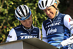 Eleonora van Dijk (NED) Trek-Segafredo Women at sign on before the Strade Bianche Women Elite 2019 running 133km from Siena to Siena, held over the white gravel roads of Tuscany, Italy. 9th March 2019.<br /> Picture: Eoin Clarke | Cyclefile<br /> <br /> <br /> All photos usage must carry mandatory copyright credit (© Cyclefile | Eoin Clarke)