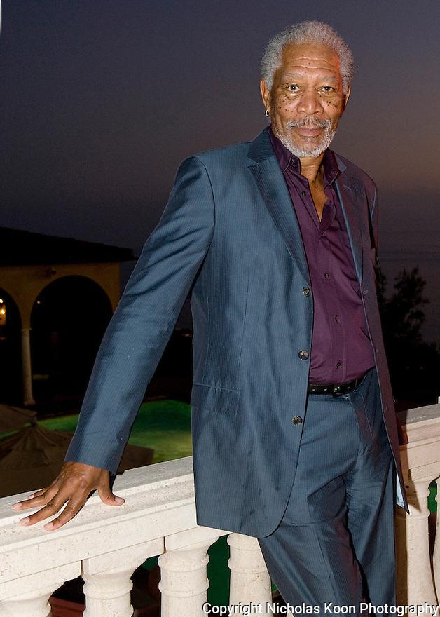 Actor Morgan Freeman at an Oceana fundraiser in Laguna Beach on 7/29/12....