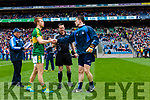 Fionn Fitzgerald Referee Paddy Neilan and Stephen Cluxton. Kerry v Dublin at the National League Final in Croke Park on Sunday.