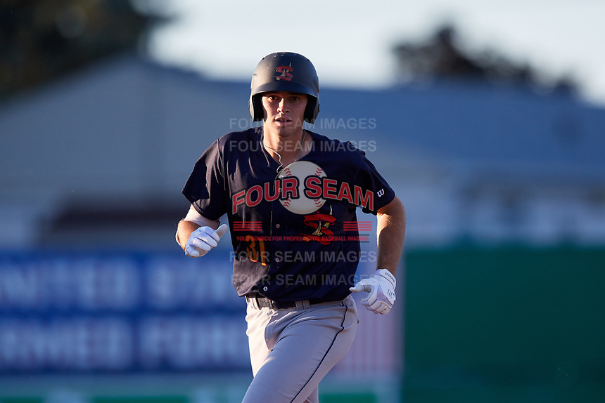 State College Spikes first baseman Brady Whalen (31) runs the bases after hitting a home run during a game against the Batavia Muckdogs on July 7, 2018 at Dwyer Stadium in Batavia, New York.  State College defeated Batavia 7-4.  (Mike Janes/Four Seam Images)