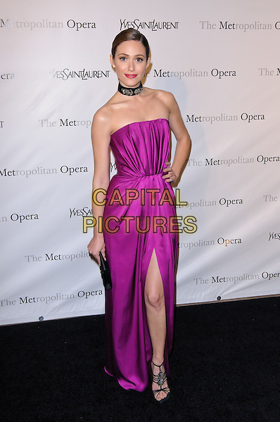 "Emmy Rossum.Metropolitan Opera Gala Premiere Of Jules Massenet's ""Manon"", New York City, NY, USA..March 26th, 2012 .full length strapless clutch bag pink silk satin choker necklace hand on hip slit split .CAP/ADM/CS.©Christopher Smith/AdMedia/Capital Pictures."