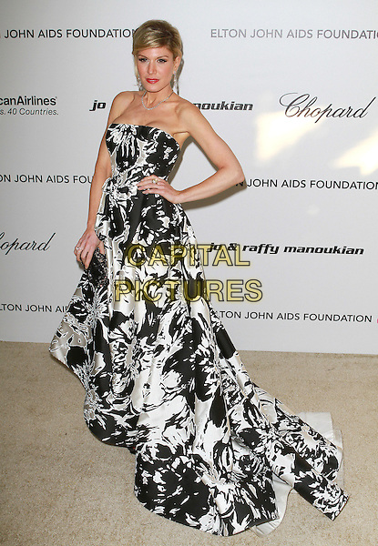 HOFIT GOLAN.at the 19th Annual Elton John AIDS Foundation Academy Awards Viewing Party held at The Pacific Design Center Outdoor Plaza in West Hollywood, California, USA, February 27th 2011..oscars full length strapless   black white dress print gown hand on hip.CAP/ADM/FS.©Faye Sadou/AdMedia/Capital Pictures.