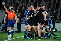 Scott Barrett congratulates Karl Tu'inukuafe on winning the All Blacks a scrum penalty during the Steinlager Series international rugby match between the New Zealand All Blacks and France at Eden Park in Auckland, New Zealand on Saturday, 9 June 2018. Photo: Dave Lintott / lintottphoto.co.nz