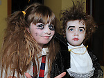 Danny Leavey and Abby McCoy pictured at the Halloween horror story telling in Ardee Castle. Photo:Colin Bell/pressphotos.ie