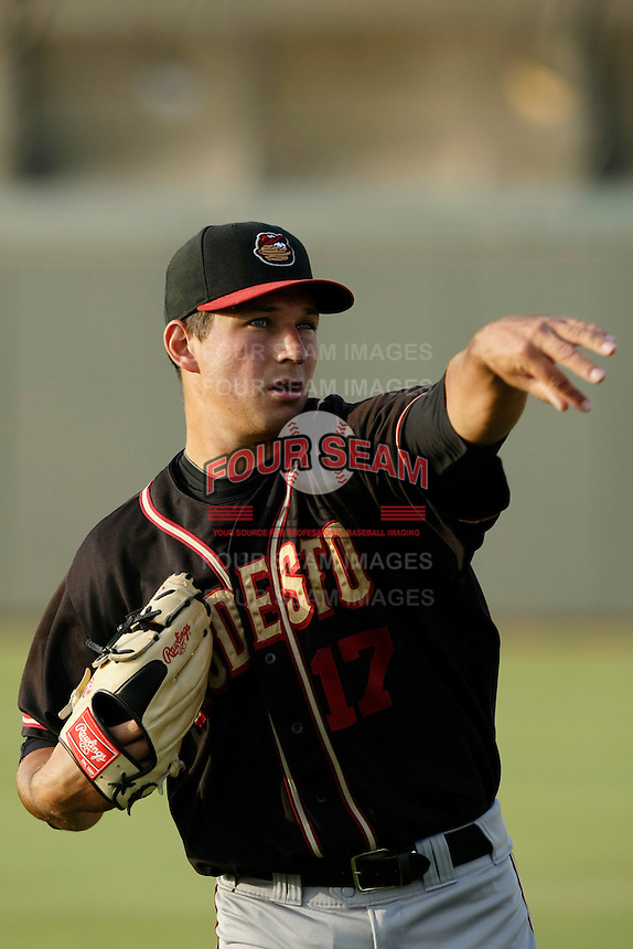 May 28 2009: Kenneth Durst of the Modesto Nuts before game against the Inland Empire 66'ers at Arrowhead Credit Union Park in San Bernardino,CA.  Photo by Larry Goren/Four Seam Images