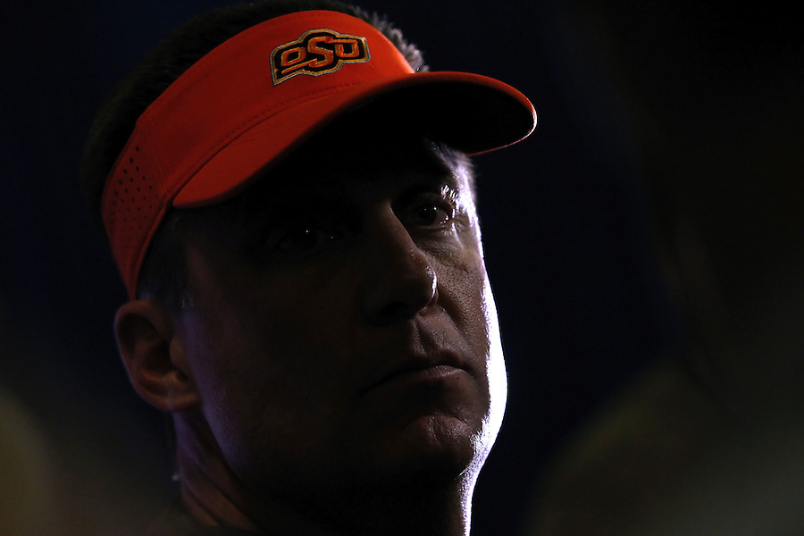 Oklahoma State head coach Mike Gundy talks to media during a news conference, Wednesday, Dec. 30, 2015, in New Orleans. Oklahoma State is set to face Mississippi in the Sugar Bowl on New Year's Day. (AP Photo/Jonathan Bachman)