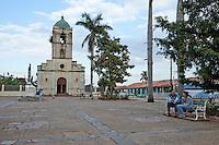 Cuba, Pinar del Rio Region, Viñales (Vinales) Town Plaza and Church.