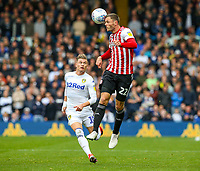 Brentford's Henrik Dalsgaard gets to a pass before Leeds United's Ezgjan&nbsp;Alioski<br /> <br /> Photographer Alex Dodd/CameraSport<br /> <br /> The EFL Sky Bet Championship - Leeds United v Brentford - Saturday 6th October 2018 - Elland Road - Leeds<br /> <br /> World Copyright &copy; 2018 CameraSport. All rights reserved. 43 Linden Ave. Countesthorpe. Leicester. England. LE8 5PG - Tel: +44 (0) 116 277 4147 - admin@camerasport.com - www.camerasport.com