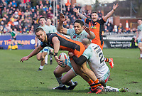 Picture by Allan McKenzie/SWpix.com - 11/02/2018 - Rugby League - Betfred Super League - Castleford Tigers v Widnes Vikings - the Mend A Hose Jungle, Castleford, England - Jy Hitchcox is brought down by Stefan Marsh and Hep Cahill.