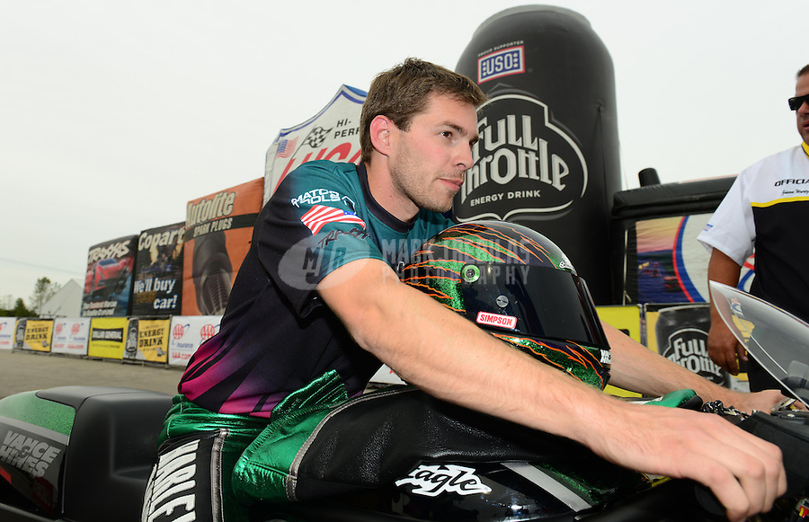 Sept. 30, 2012; Madison, IL, USA: NHRA pro stock motorcycle rider Andrew Hines after coming in runner-up at the Midwest Nationals at Gateway Motorsports Park. Mandatory Credit: Mark J. Rebilas-